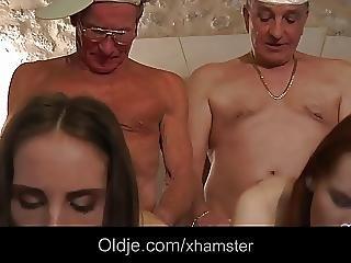 Horny Grandpas Fuck Two Slutty Teens In Vacantion