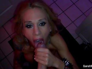 Sarah Jessie gives a BJ in the bathroom
