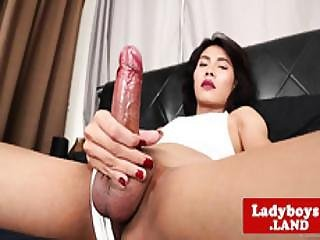Smalltits Asian Trans Babe Strokes Her Dick