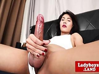 aziatisch, chick, closeup, lul, hakken, masturberen, ladyboy, masturbatie, schemale, solo, tgirl, thai, transsexueel