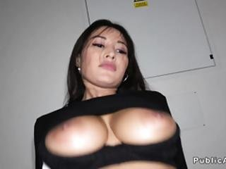 Huge Tits Latina Bangs In Public