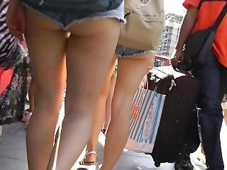 Candid English Buns Falling Out Of Super Small Jean Shorts