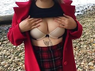 18 Years Old Schoolgirl Walking Around The Beach And Undressing Herself