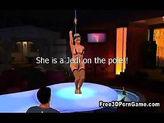 3d Cartoon Stripper Sucks Cock And Gets Fucked