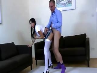 Amateur Schoolgirl Slut Fucks Old Dude