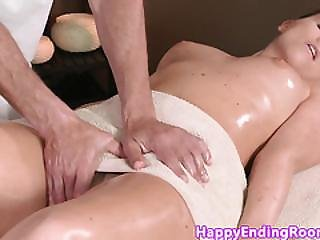 Classy Massage Client Jerking Before Sucking