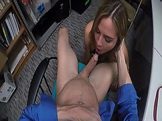 Lp Officer Cock Feeding Blair Williams In The Office