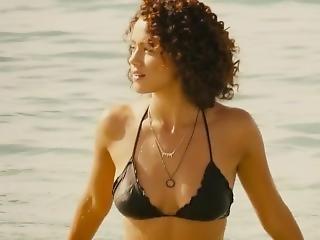 Nathalie Emmanuel Big Boobs And Shaking Her Ass In A Sexy Black Bikini