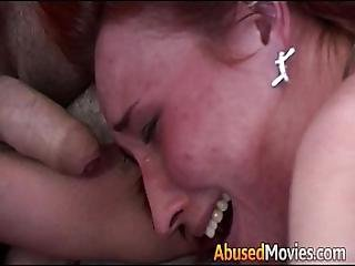 Redhead Party Girl Anal Forced Fucked By Two Men
