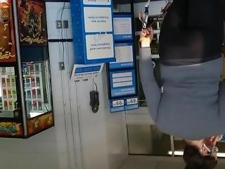 Candid Ass In Leggings/yoga Pants