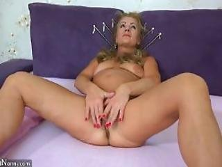 Old Mature Doing Striptease And Masturbating Her Big Pussy