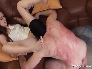 Slave Whipped While Pussy Licking