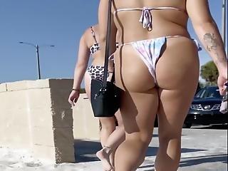 Smoking Hot Purple Haired Petite Girls On Beach In Thongs