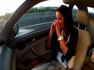 Horny euro babe sucks cab driver off