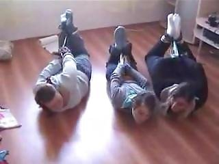 3 Girls Hogtied In Socks And Scarf Gagged (lq)