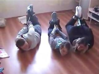 3 Girls Hogtied In Socks And Scarf Gagged (lq)
