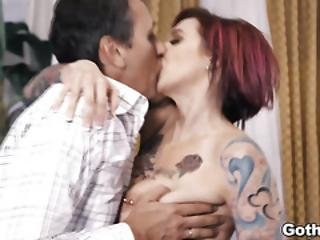 Dirty Old Man Fucks Hot Busty Waitress Pussy