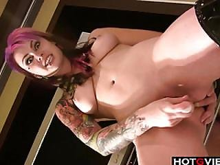 Punk Rocker Toying Her Pussy