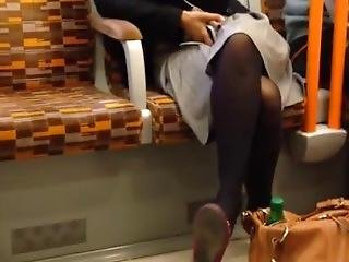 Candid Sexy Indian Woman Shoeplaydangling Flats Black Tights