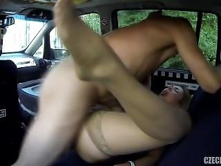 Russian Babe Gets Plowed In The Back Of A Taxi