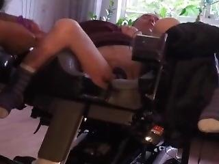 Cripple In Wheelchair Gets His Legs Spread And His Dick Teased