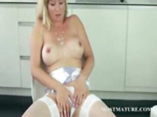 Milf In Panty Hose Teasing Twat On A Chair