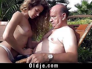 Beautiful Monique Sucks Grandpas Bulky Old Dong Outdoor