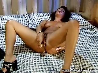 Solo Dildo Masturbation With Housewife