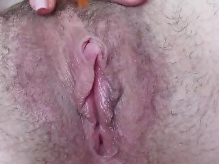 Hairy Big Clit Pussy Feather Teasing