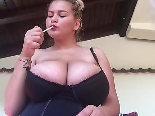 Huuuge Boobs Nice Smoker