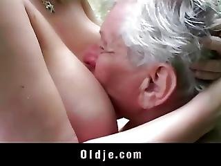 Horny Grandpa Gets Pleased By Huge Breasted Young Girl