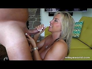 Busty Milf Strokes Out Cum Shot On Tongue