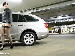 Riding A Dildo On A Car In A Carpark