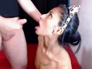 Latina With Small Tits Swallows