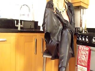 14% Lucy Zara - Leather Undressing Her Leather Dress