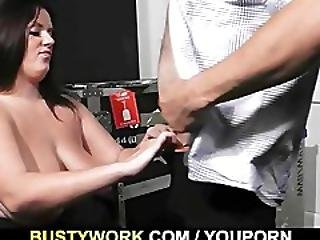 Fat Brunette In Fishnets Takes It From Behind