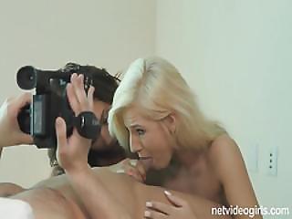 Cute Blonde Amateur Joins Nasty Threeway