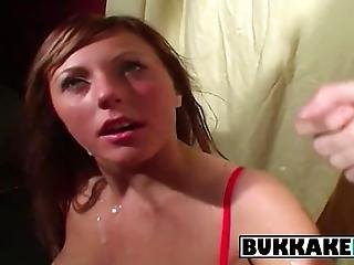 Becky Is Bombarded With Three Cumshots When She Is Seduced Into Being Mouthfucked By Several Horny Men Who Make Her Moan With Extreme Pleasure As She Fingers Her Pussy