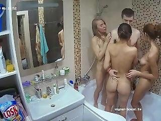 Lucky Guy Shower With Three Girls