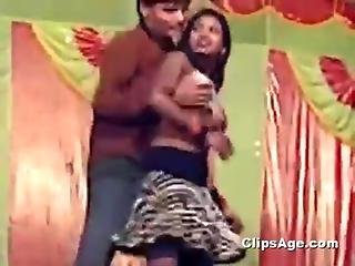Local Desi Guy Pressing And Enjoying A Local Desi Lady On Stage
