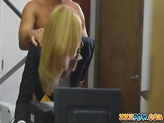 Blonde, Blowjob, Cumshot, Facial, Milf, Office, Pierced, Prostitute