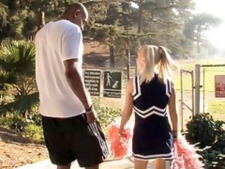 Blonde cheerleader pipe