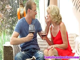 Euro Granny Pounded By Young Lover