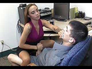 Hot Boss Gives Wimp Boy Handjob
