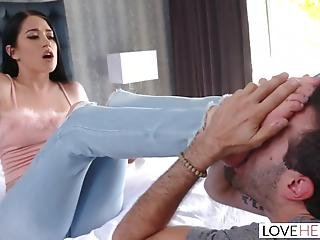 Loveherfeet - Sexy Brunette Has Her Feet Sucked While Being Fucked