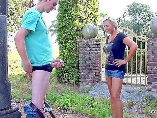 Milf Catch Young Virgin Guy Jerking In The Garden And Help Him With Defloration