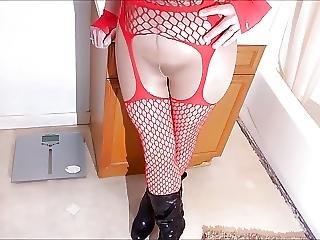 Spandex Angel Red Fishnet Foot Job