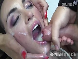 Premium Bukkake   Nicole Swallows 59 Huge Mouthful Cumshots