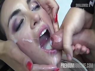 Premium Bukkake   Nicole Swallows 59 Huge Mouthful Cumshots