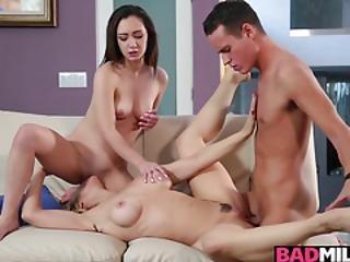 Milf Sarah Vandella Cock Riding On Top While Lily Jordan Balls Licking